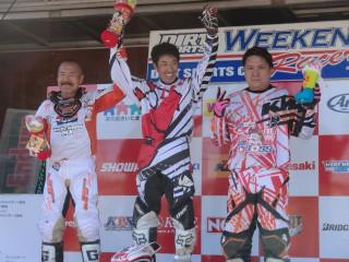 第1ヒート、優勝の川島雄一郎、2位伊田井佐夫、3位元木龍幸のお三方